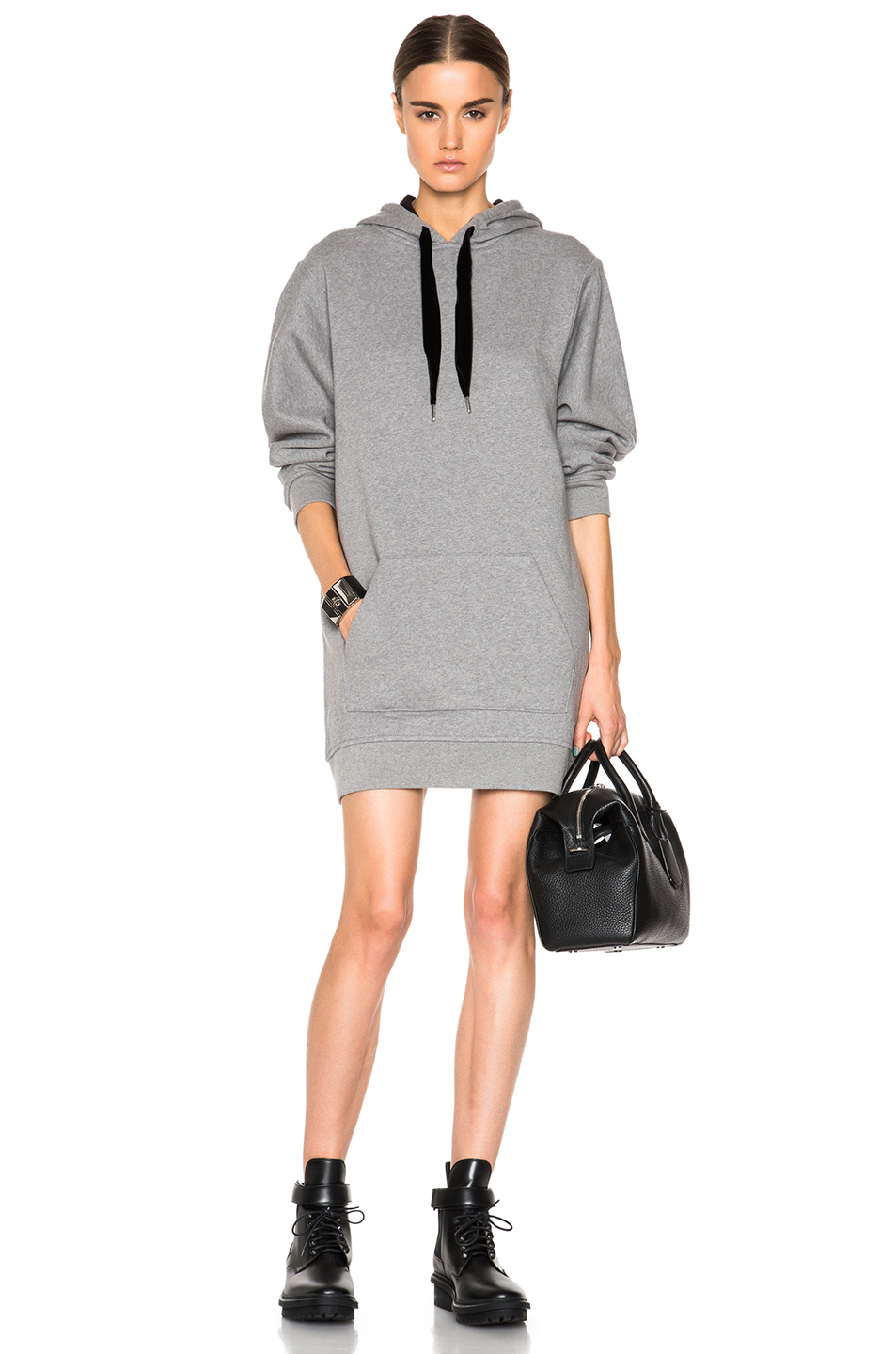 lyst t by alexander wang brushed wool fleece hoodie. Black Bedroom Furniture Sets. Home Design Ideas