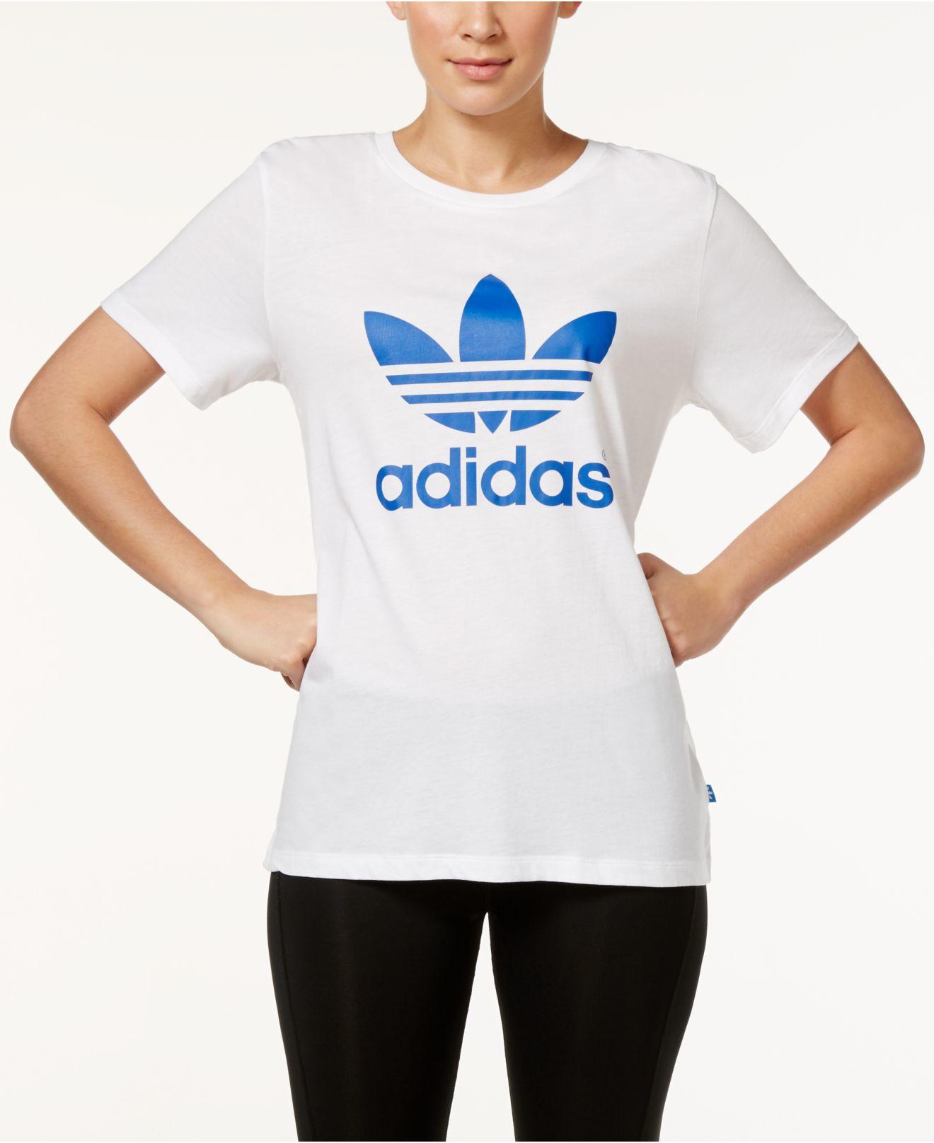 e06647ca8ea Lyst - adidas Originals Boyfriend Trefoil T-shirt in White