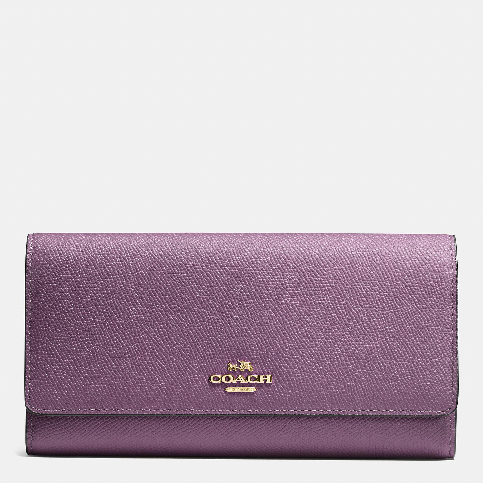 Lyst - COACH Trifold Wallet In Crossgrain Leather in Purple 45bdf0fe46