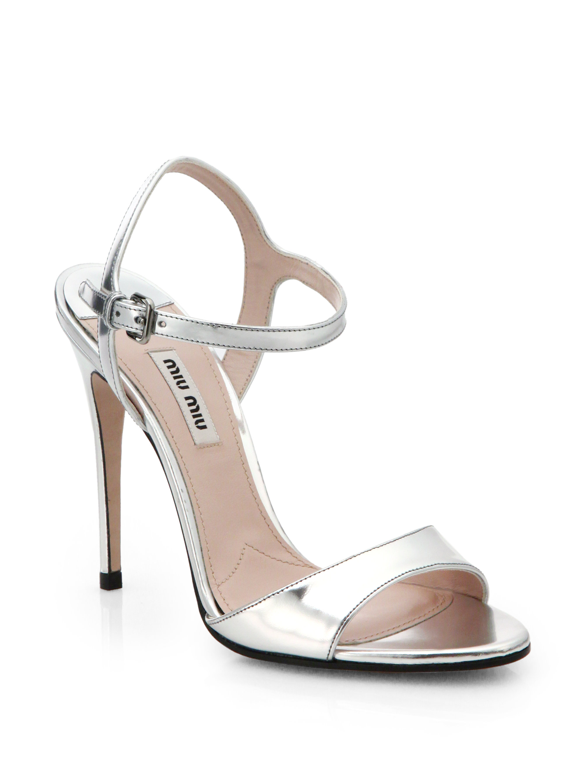 Lyst Miu Miu Metallic Leather Strappy Sandals In Metallic