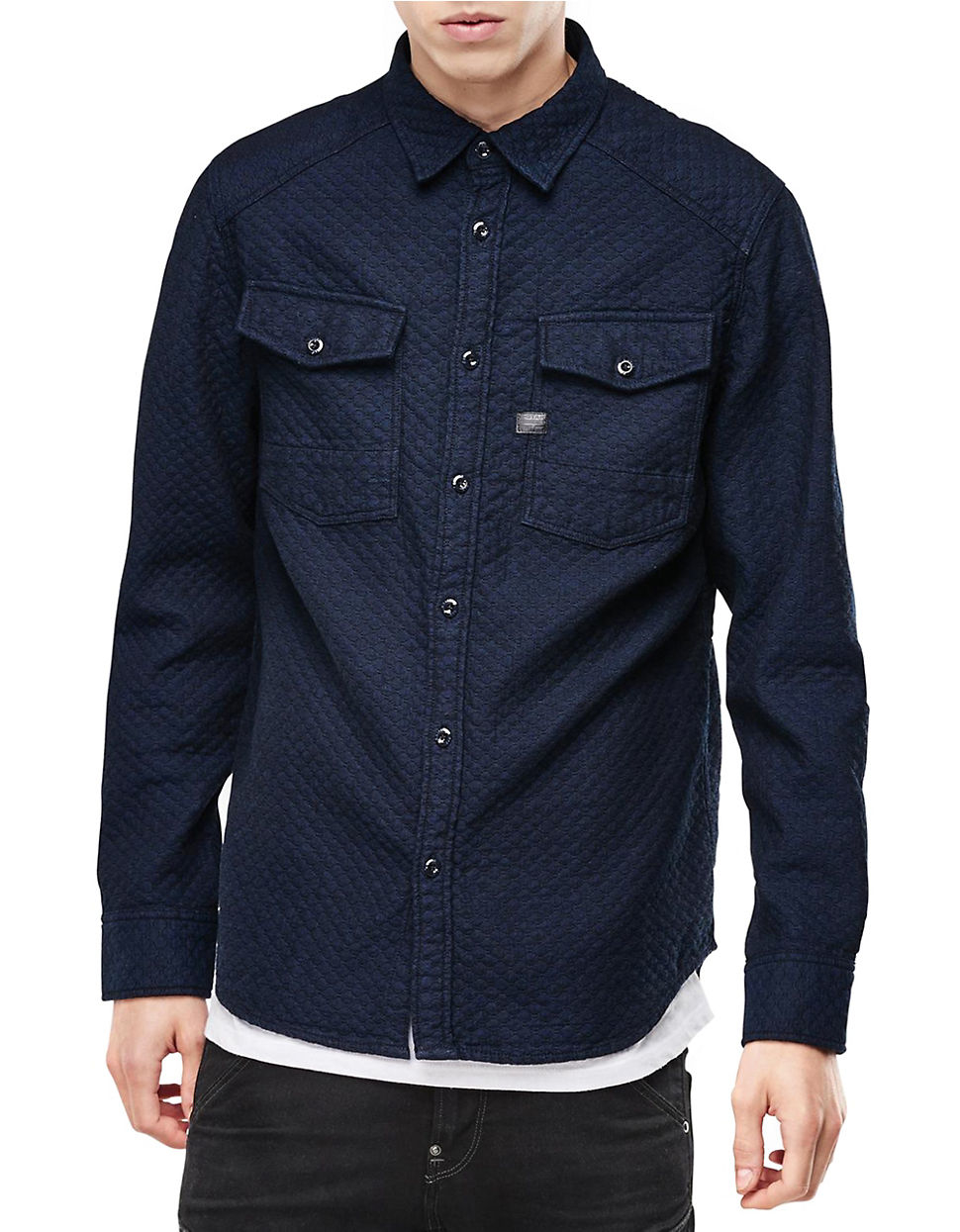 G star raw textured cotton workshirt in blue for men lyst for Blue cotton work shirts