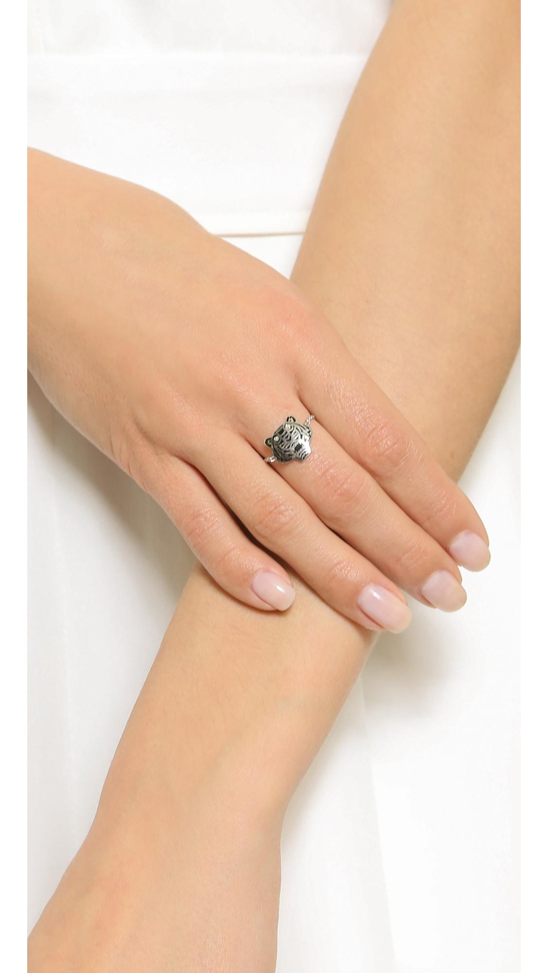 kenzo mini tiger ring silver in silver lyst