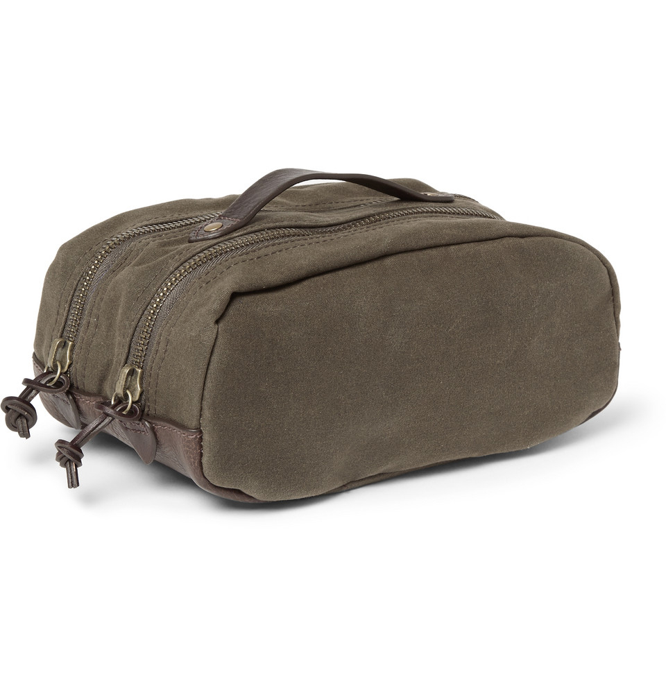 Lyst - J.Crew Abingdon Waxed-Canvas And Leather Wash Bag in Green ... 031d8c675a184