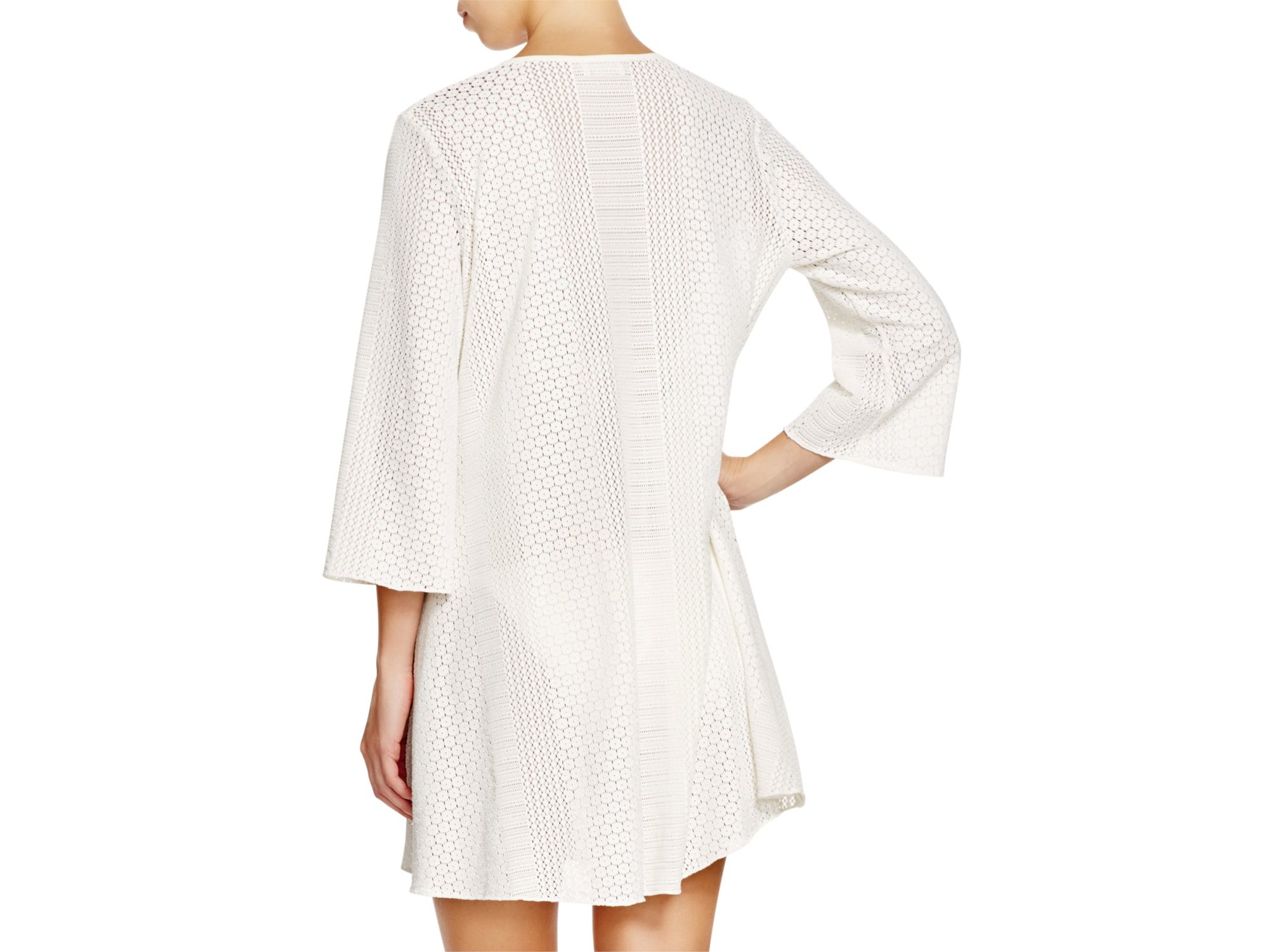 f0500544e51ee8 Shoshanna Eyelet Tunic Swim Cover Up in White - Lyst