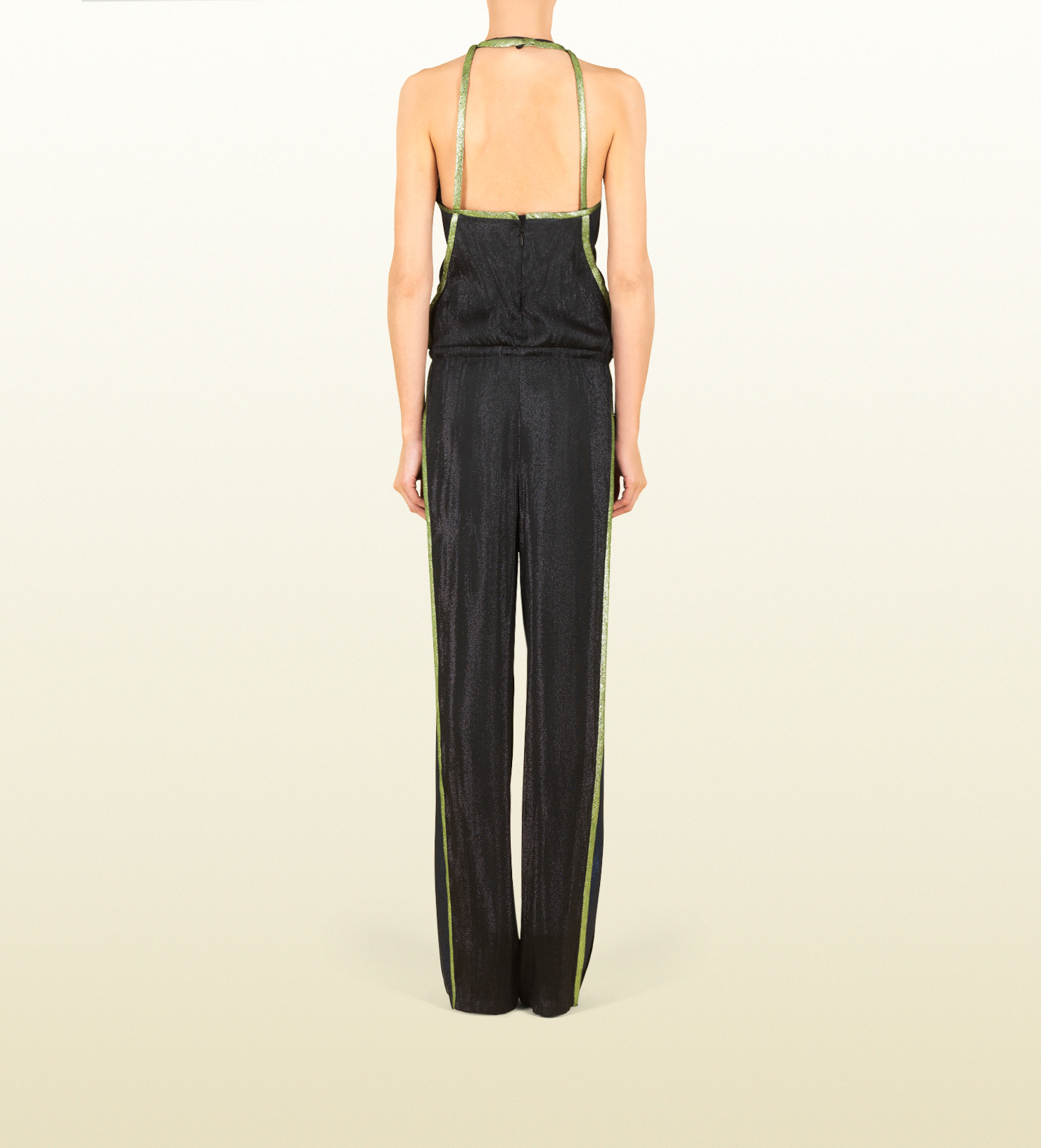 f1715f8e1e4 Lyst - Gucci Black Liquid Lame Jumpsuit in Black
