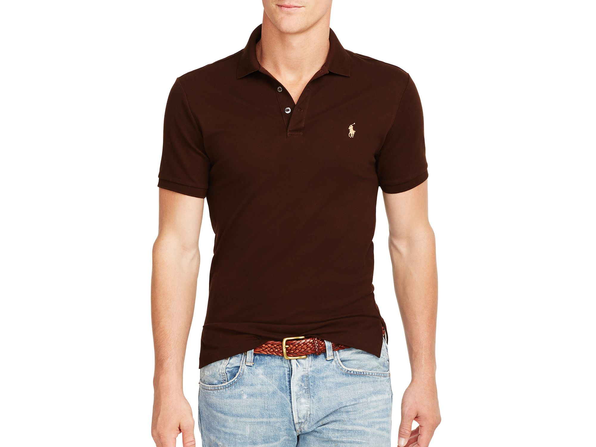ralph lauren polo stretch mesh slim fit polo shirt in brown for men lyst. Black Bedroom Furniture Sets. Home Design Ideas