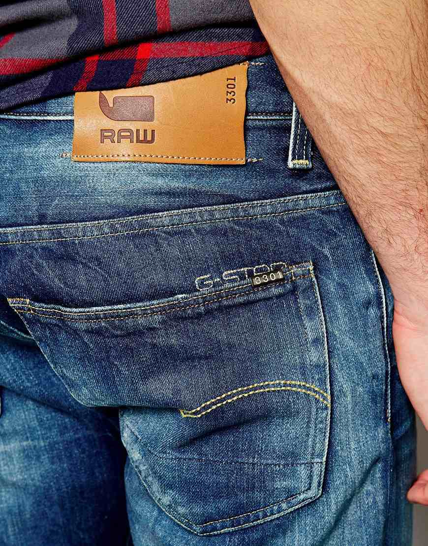 04e3458e046 G-Star RAW G Star 3301 Low Tapered Medium Aged Wash Jean in Blue for ...