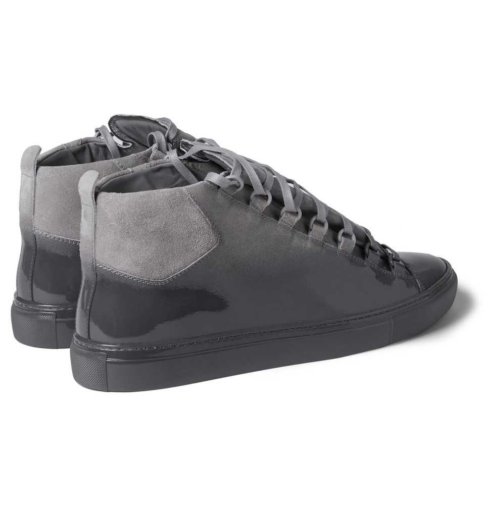Lyst - Balenciaga Arena Glossed-Suede High Top Sneakers in Gray for Men 4beabc2901d7