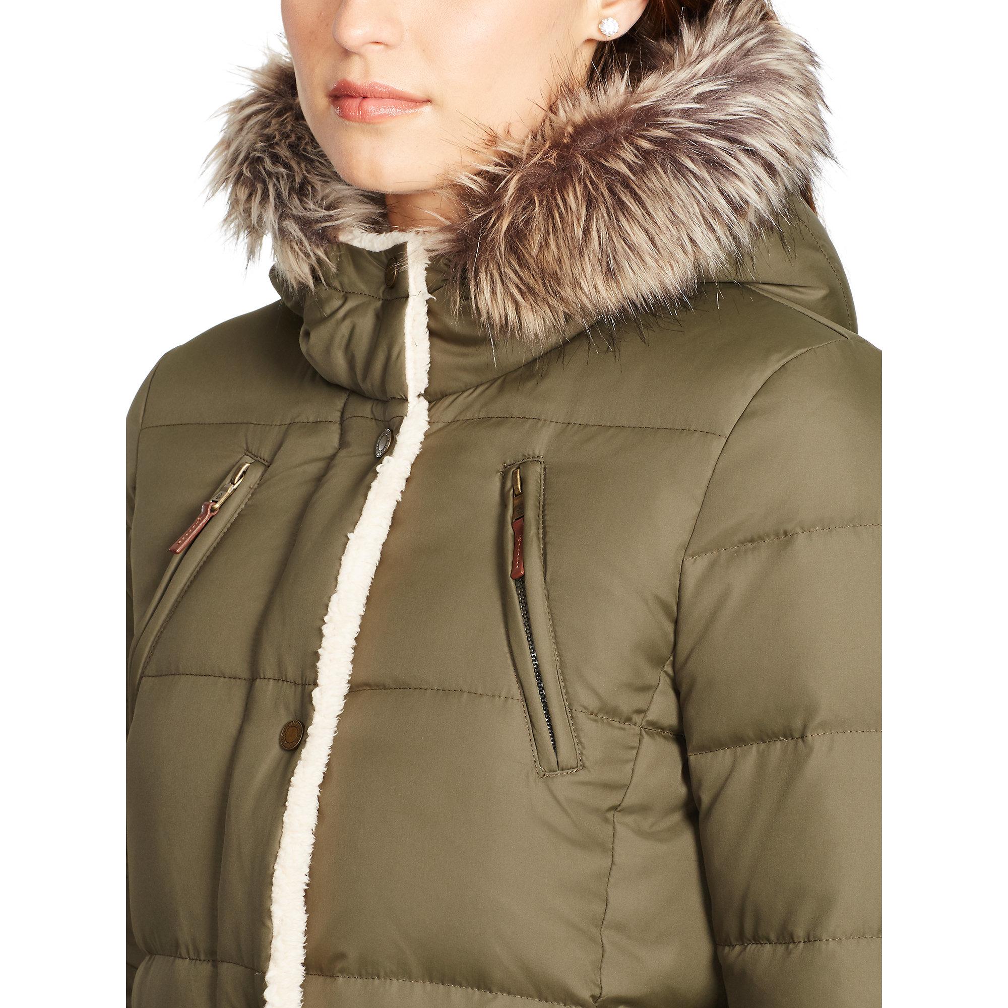 Ralph lauren Faux Fur–lined Down Coat in Green | Lyst