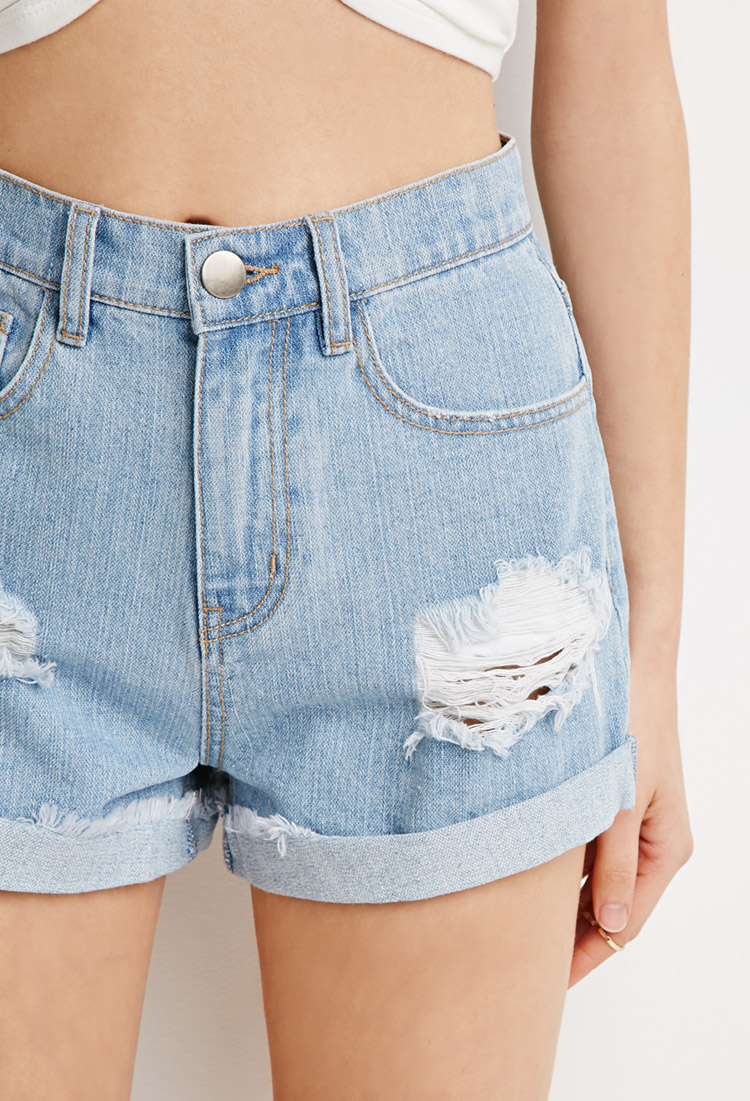 Forever 21 Cuffed High-waist Denim Shorts in Blue | Lyst