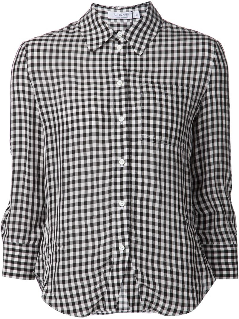 Altuzarra gingham shirt in black lyst for Red and white gingham shirt women s