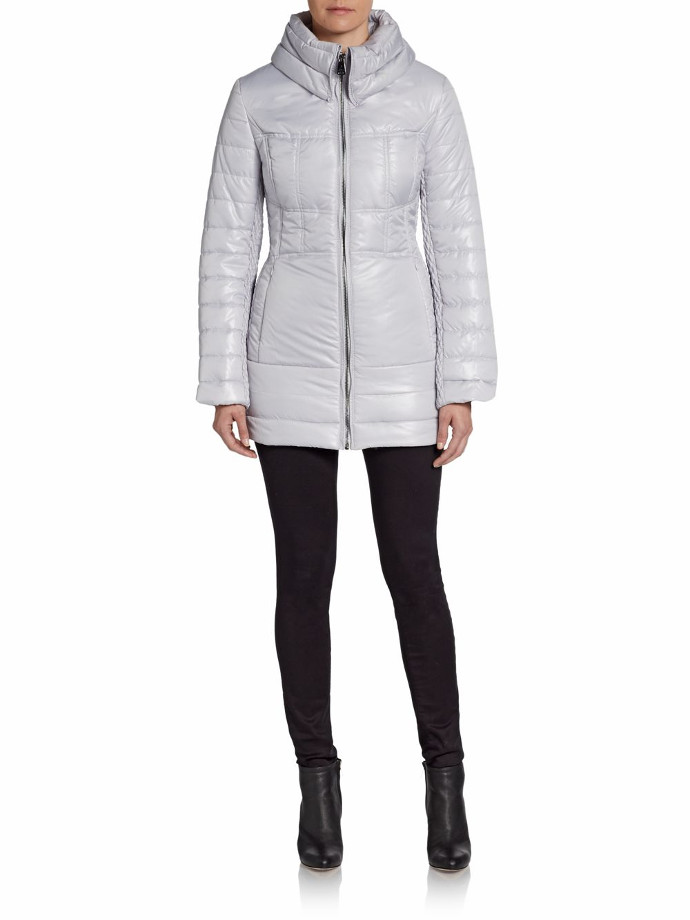 Via Spiga High Neck Puffer Jacket In Gray Ice Lyst