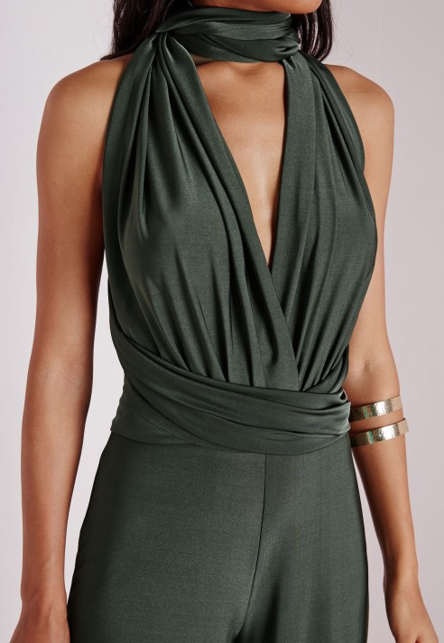 812e416dd56 Missguided Do It Any Way Multiway Jumpsuit Khaki in Green - Lyst