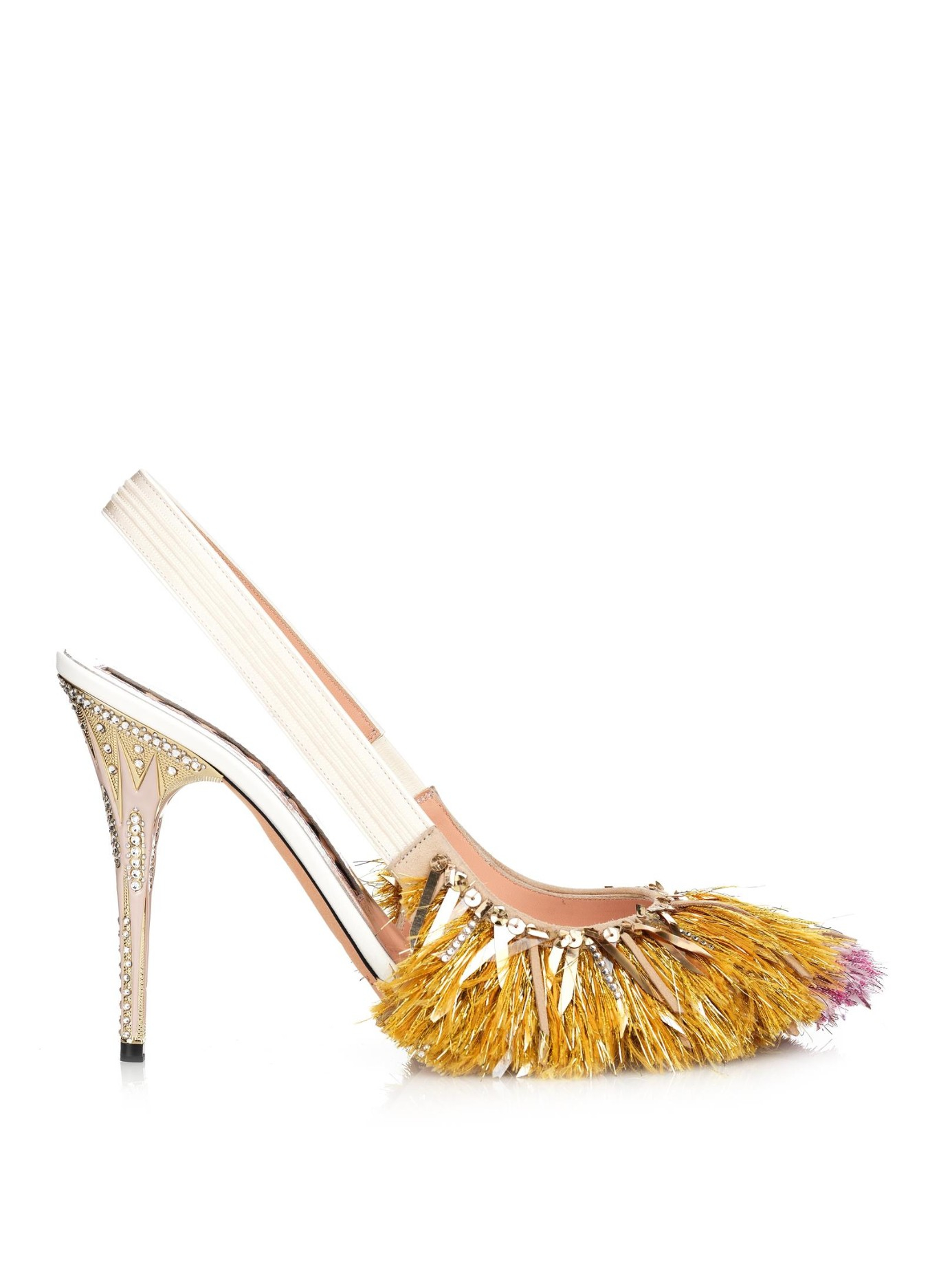 Rochas Fringe-Embellished Slingback Pumps outlet pay with paypal DD26r
