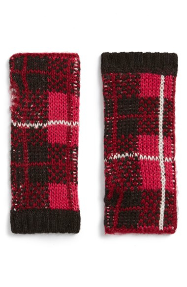 kate spade 39 woodland plaid 39 arm warmers in pink lyst. Black Bedroom Furniture Sets. Home Design Ideas