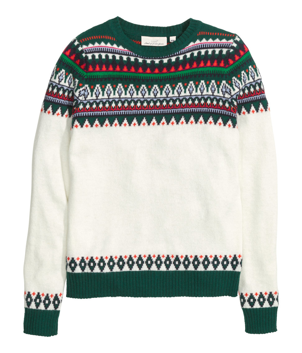 0c424bae34 H M Jacquard-knit Jumper in Green for Men - Lyst