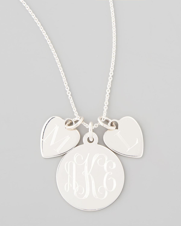 sarah chloe sonya layered letter monogram necklace in metallic