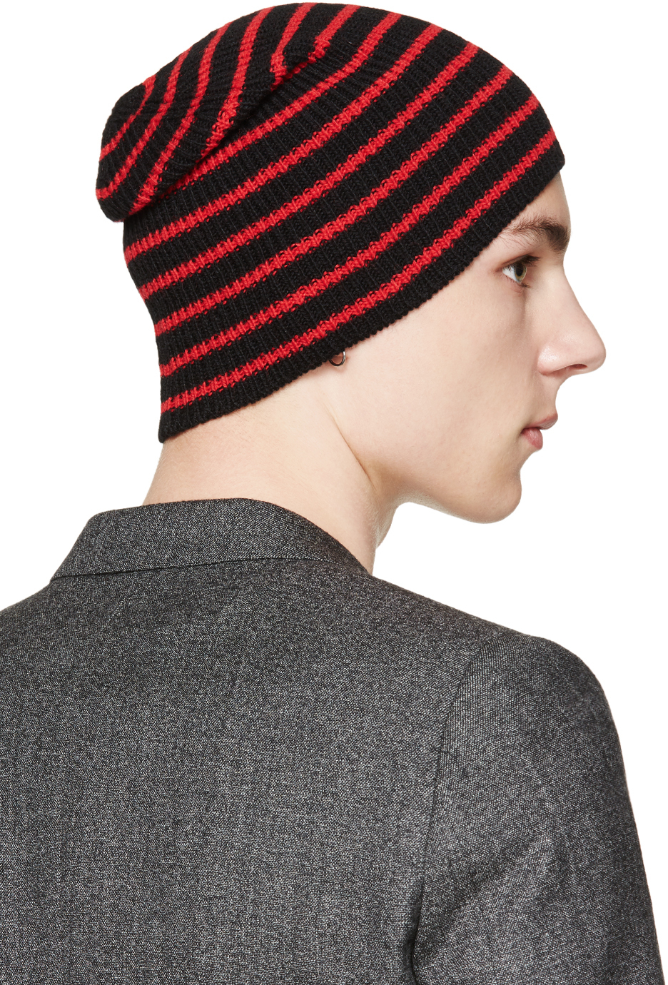 Lyst - Saint Laurent Black And Red Striped Beanie in Red for Men 2db153e22ff