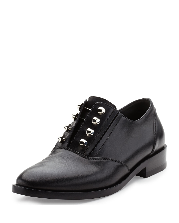 Lyst Balenciaga Studded Leather Derby Shoe In Black