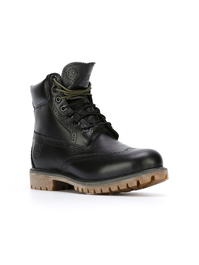 timberland brogue detail boots in black for lyst