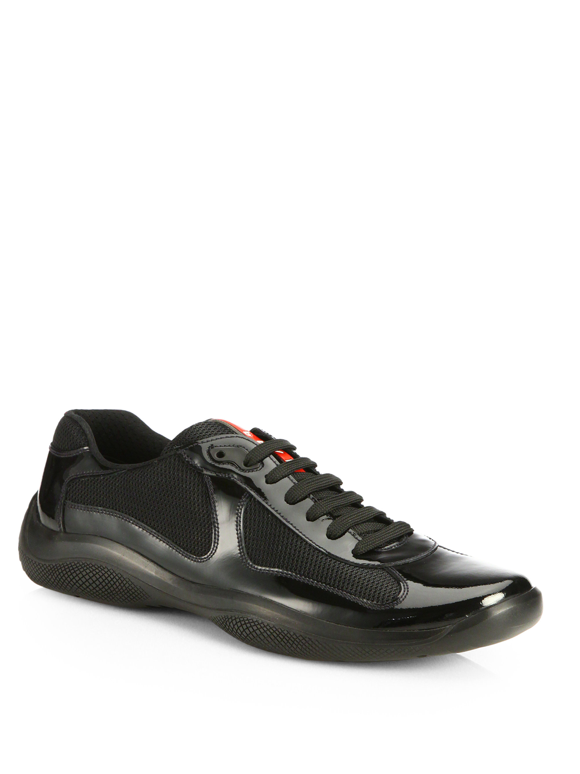 Prada Patent America's Cup Sneakers in Black for Men | Lyst