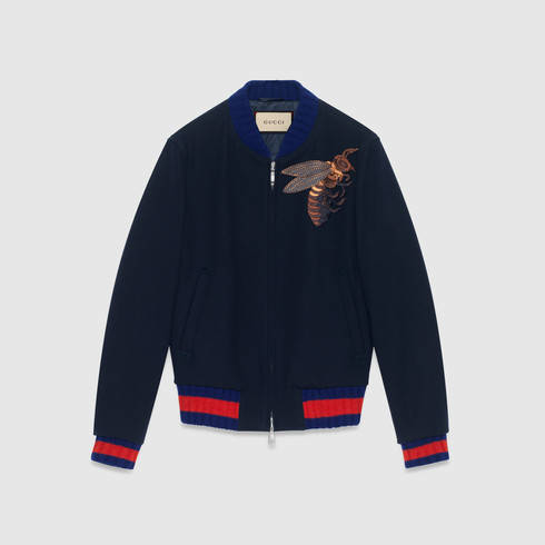 lyst gucci wool jacket with bee appliquã in blue for men