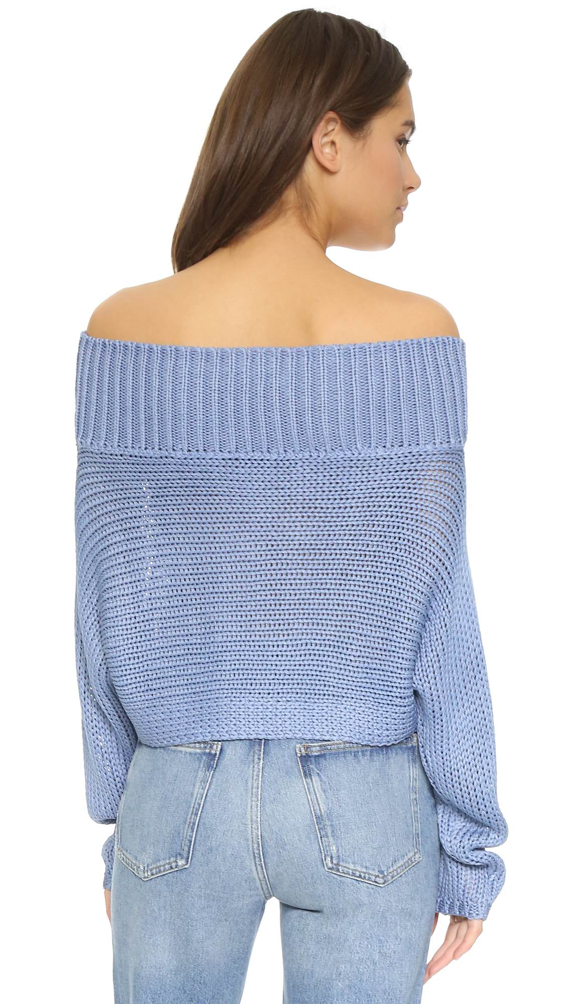 Tibi Oversized Cropped Pullover Sweater in Blue | Lyst