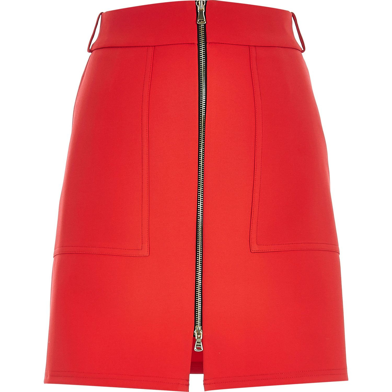 River island Red Zip-up A-line Skirt in Red | Lyst