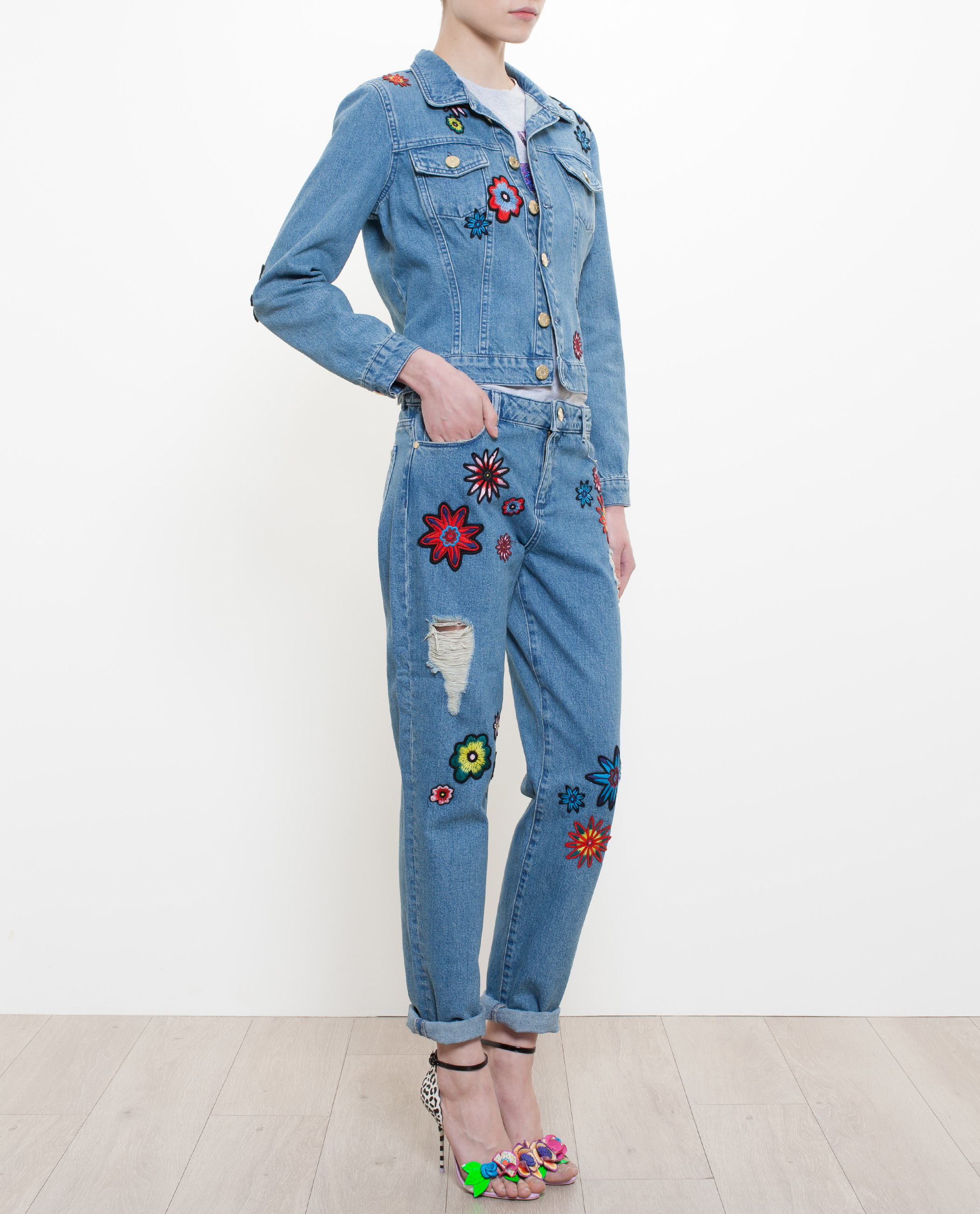 House Of Holland Embroidered Denim Jacket In Blue Lyst