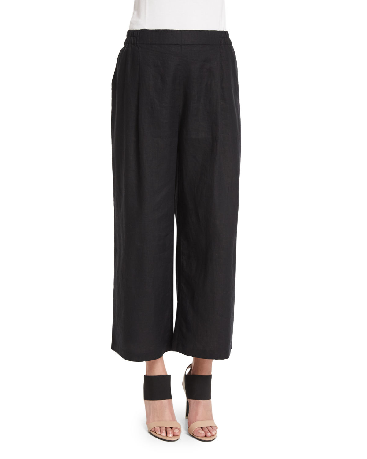 Eileen fisher Organic Linen Wide-leg Cropped Pants in Black | Lyst