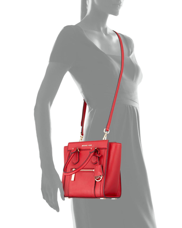 4410a56d3478 ... cheap lyst michael michael kors colette medium messenger bag in red  d1a89 30270