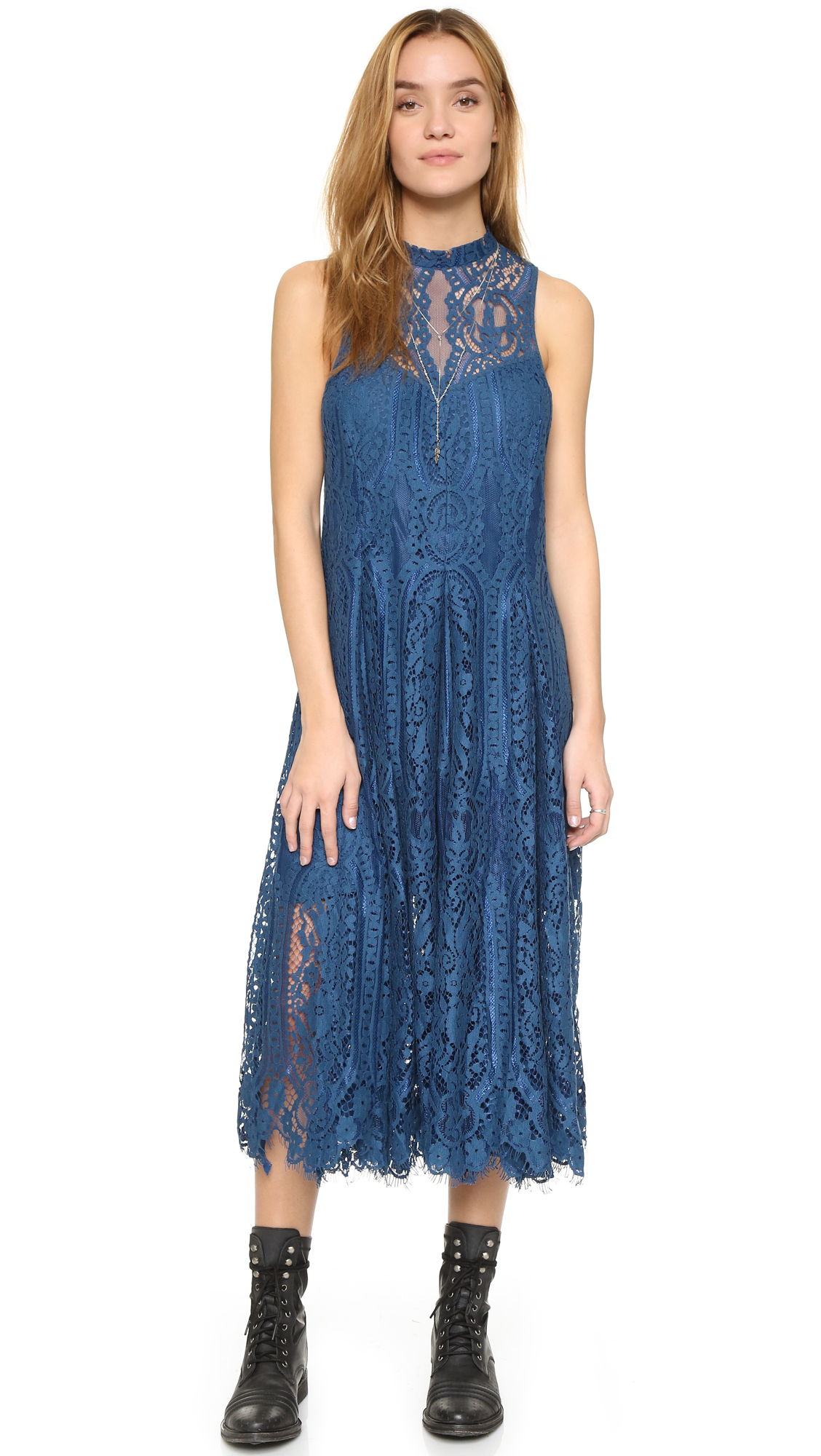 Free people Angel Rays Trapeze Midi Dress in Blue | Lyst