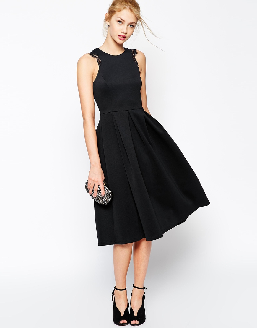 Asos Lace Trim Prom Scuba Midi Dress In Black Lyst