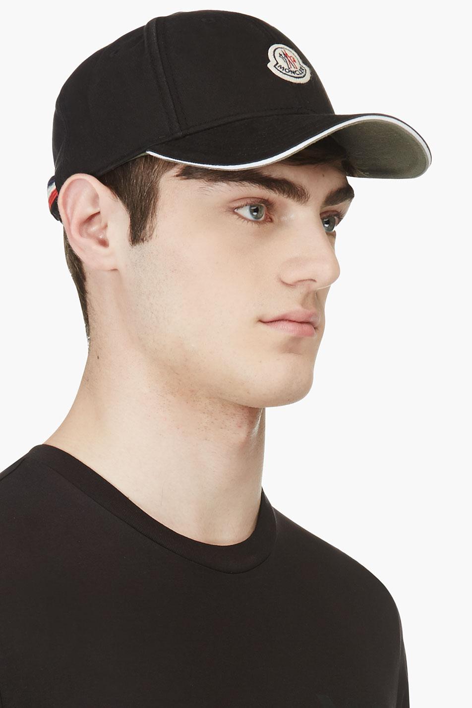 Lyst - Moncler Black Logo Baseball Cap in Black for Men 9fa07bb0d