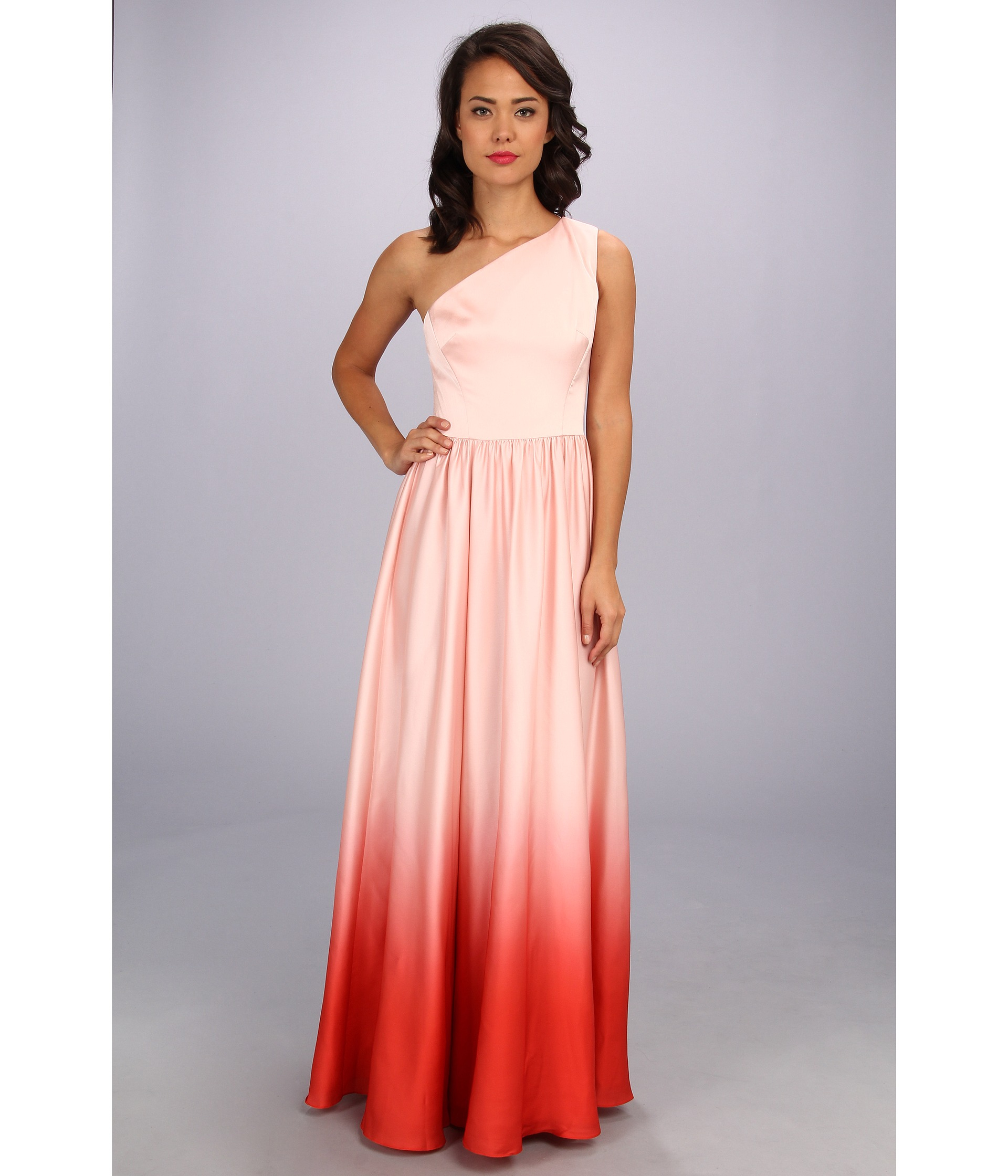 Ted baker Daneka Single Shoulder Ombre Maxi Dress in Pink | Lyst
