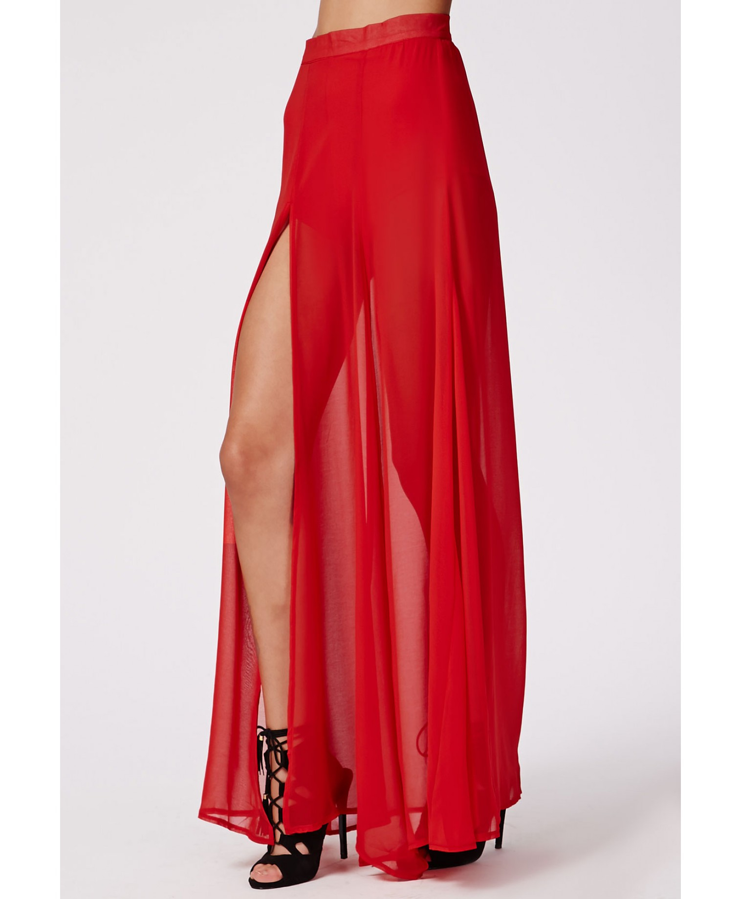 Looks - Maxi Chiffon skirt with split pictures video