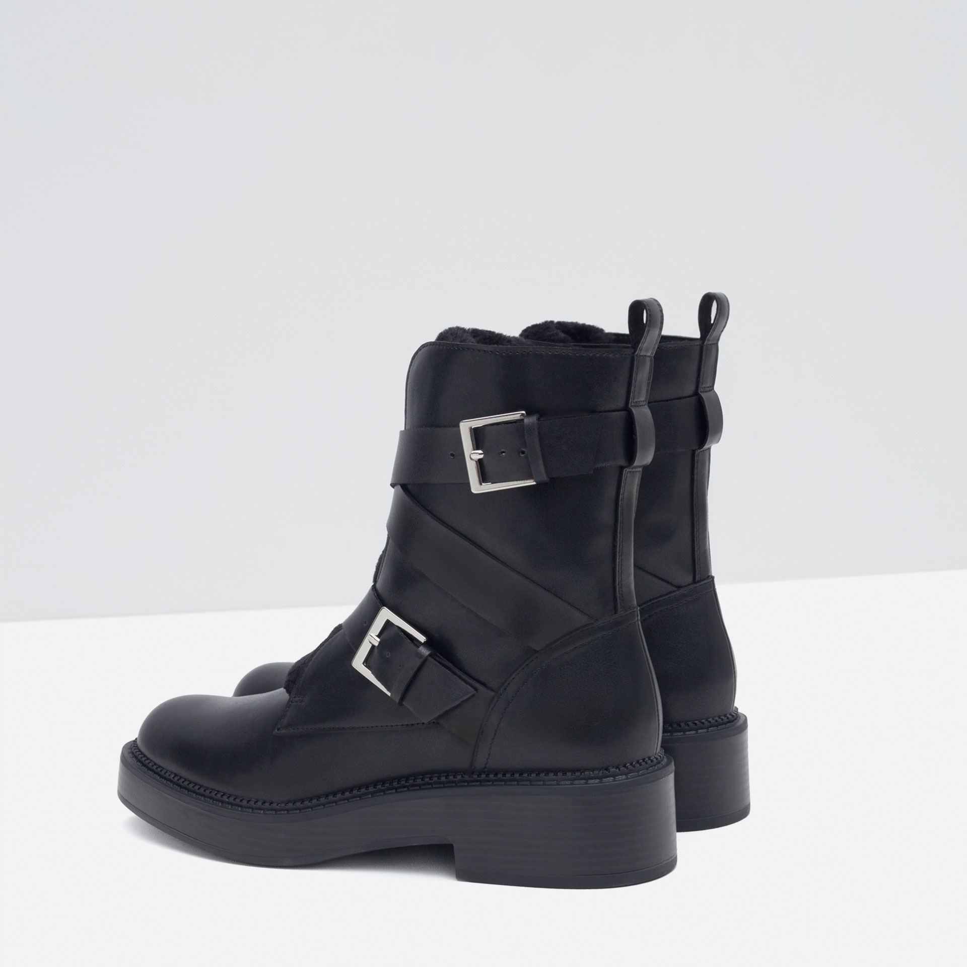 Zara Flat Ankle Boots With Buckles in Black | Lyst