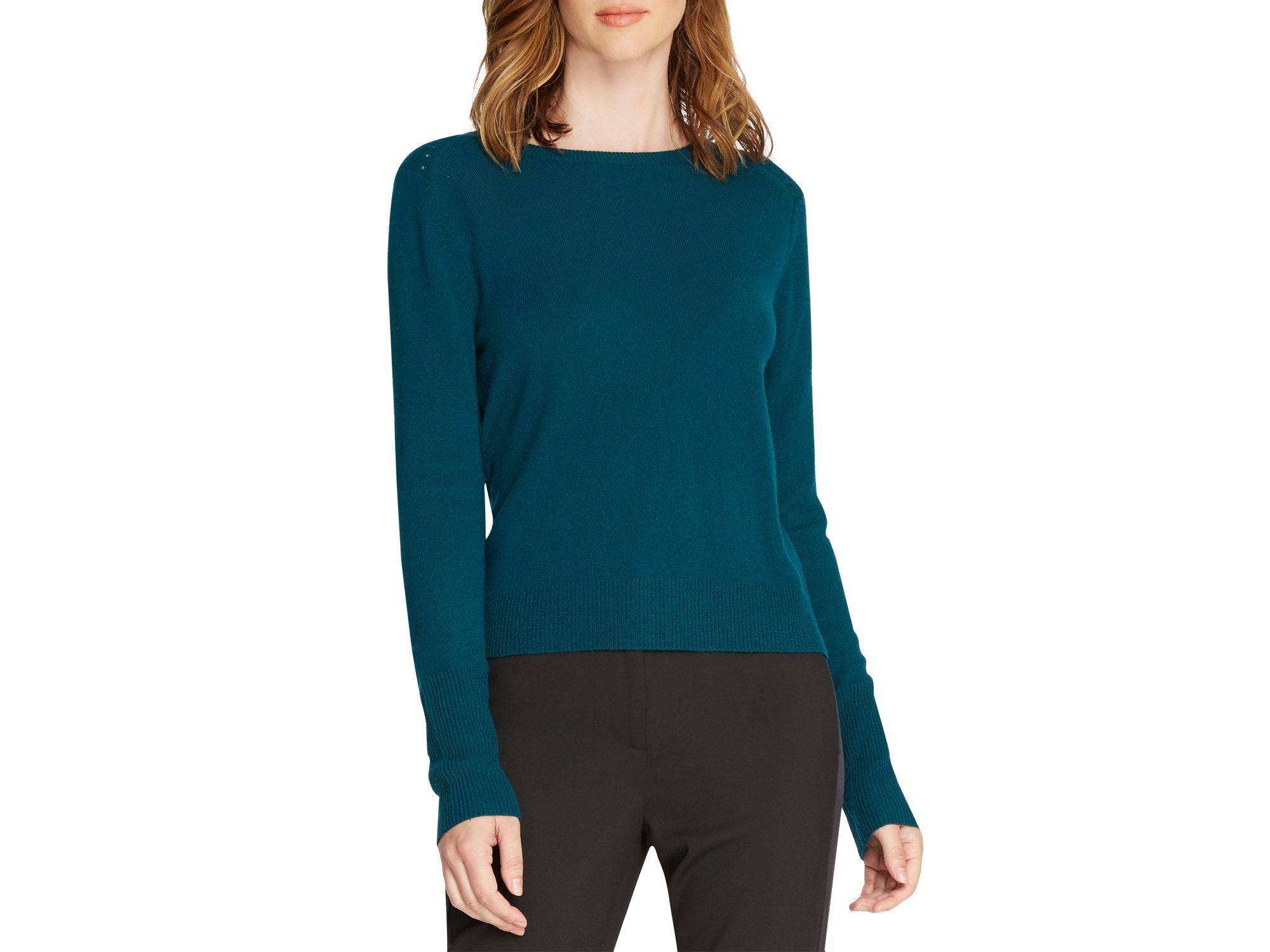 36fc12515e1 Lyst - Halston Cross Back Cashmere Sweater in Blue