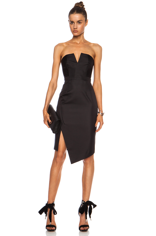 Nicholas Bonded Silk Strapless Dress in Black | Lyst