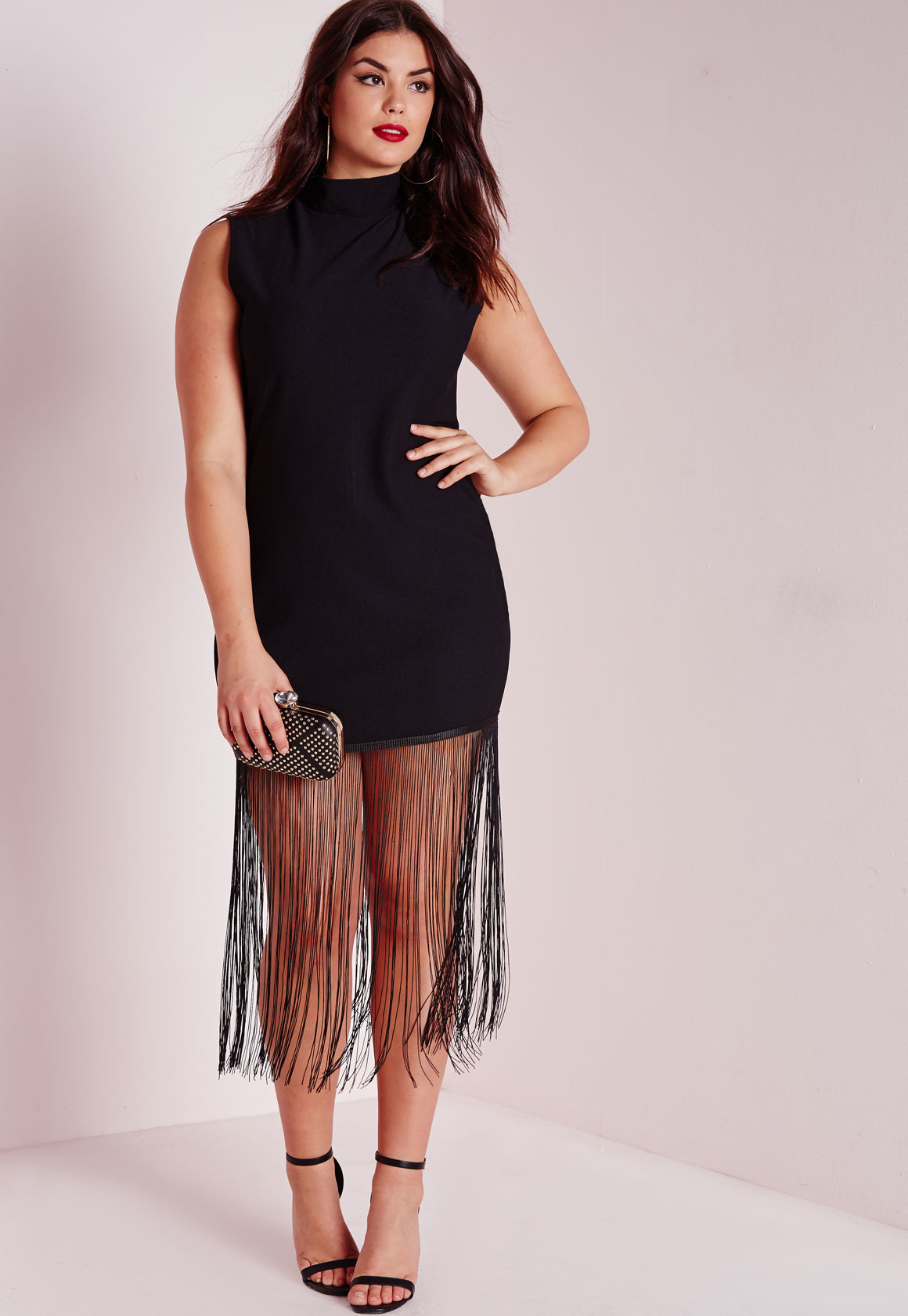 Lyst Missguided Plus Size Jersey Fringed T Shirt Dress Black In Black