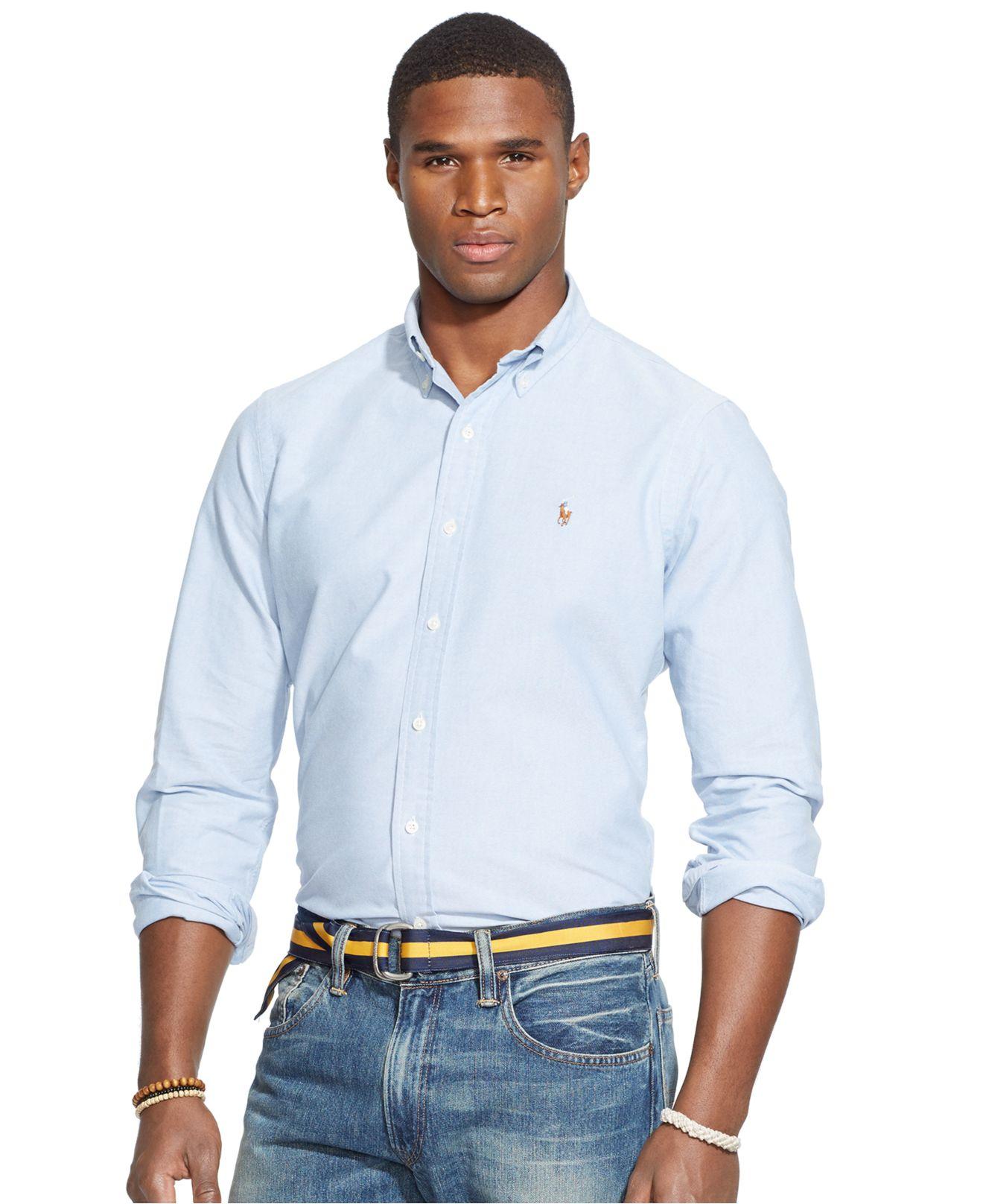 Polo ralph lauren Men's Long Sleeve Solid Oxford Shirt in ...
