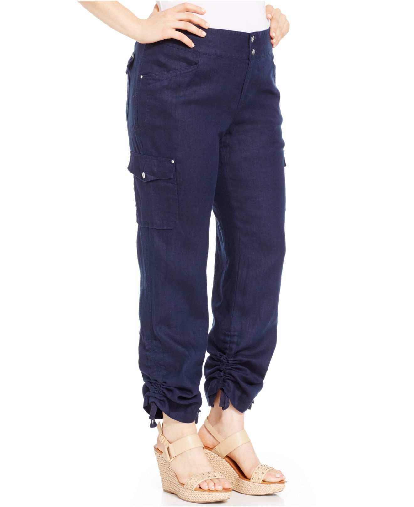Inc international concepts Plus Size Ruched Linen Cargo Pants in ...