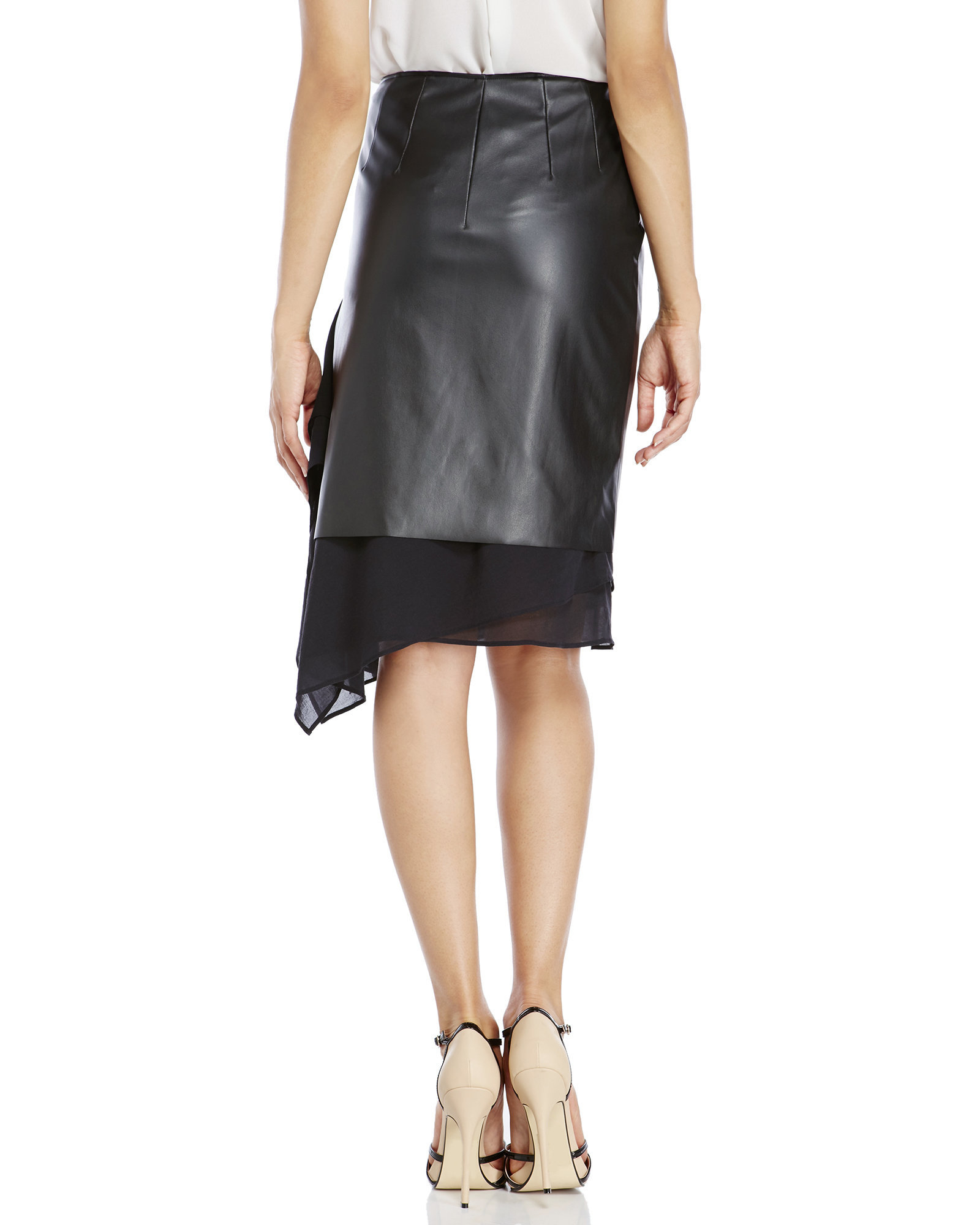 cedric charlier asymmetrical tiered faux leather skirt in