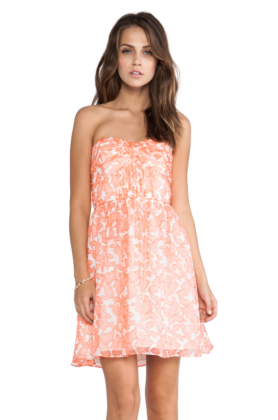 Coral Lace Strapless Dress