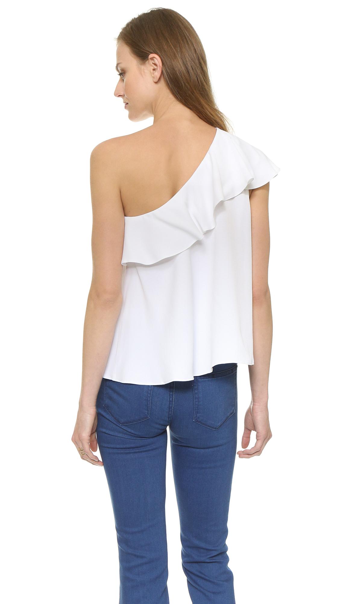 b7346cac13107b Rachel Zoe Leena One Shoulder Ruffle Top - Peche in White - Lyst