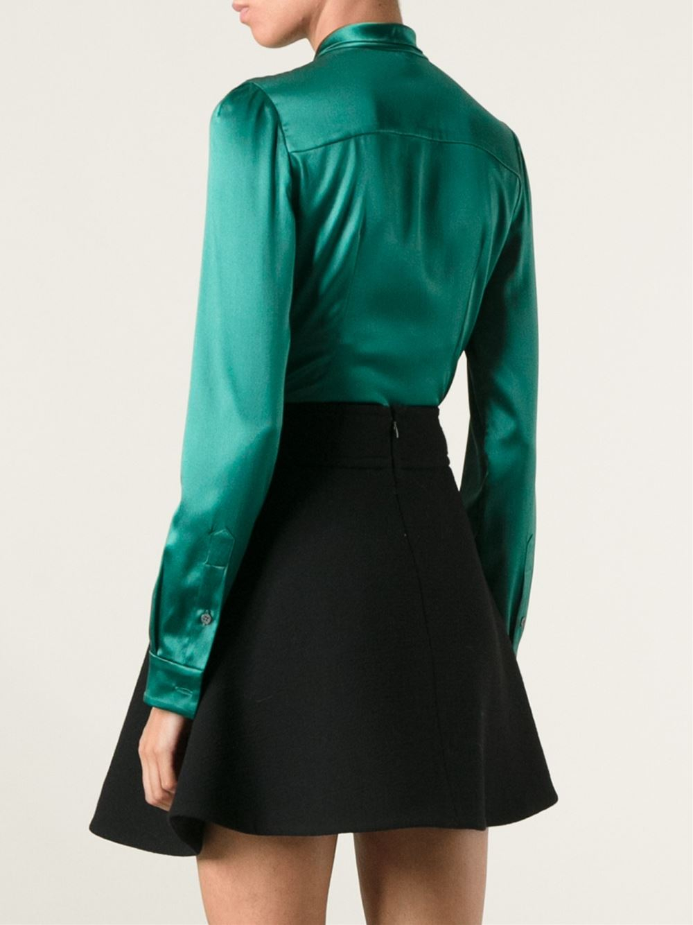 Lyst Dolce Amp Gabbana Pussy Bow Blouse In Green