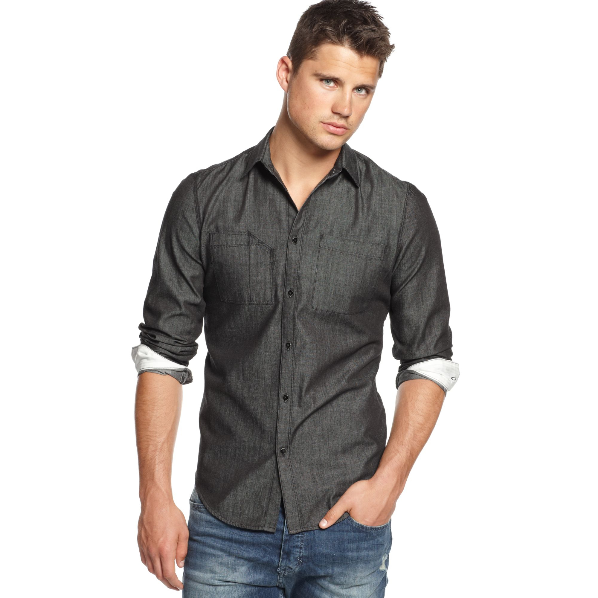927f5f9d4102 Calvin Klein Chambray Shirt in Black for Men - Lyst