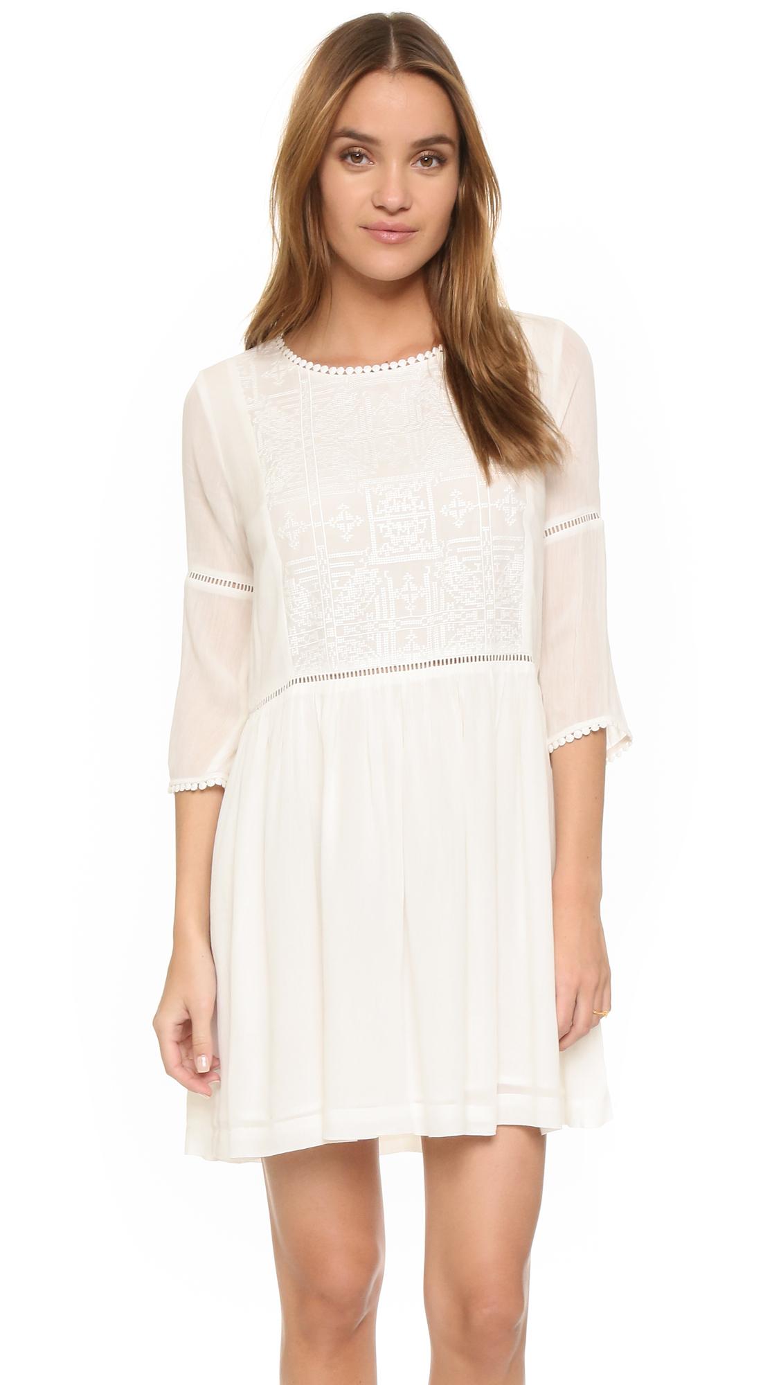 suncoo colombine dress in white lyst. Black Bedroom Furniture Sets. Home Design Ideas