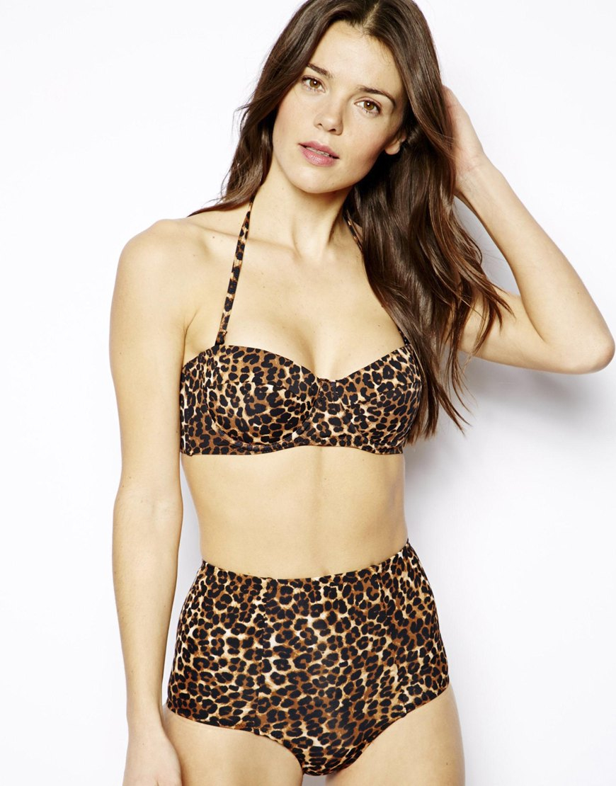 Wet N Wild Bow High Waist Swimsuit Pink Top And Leopard Print Bottoms