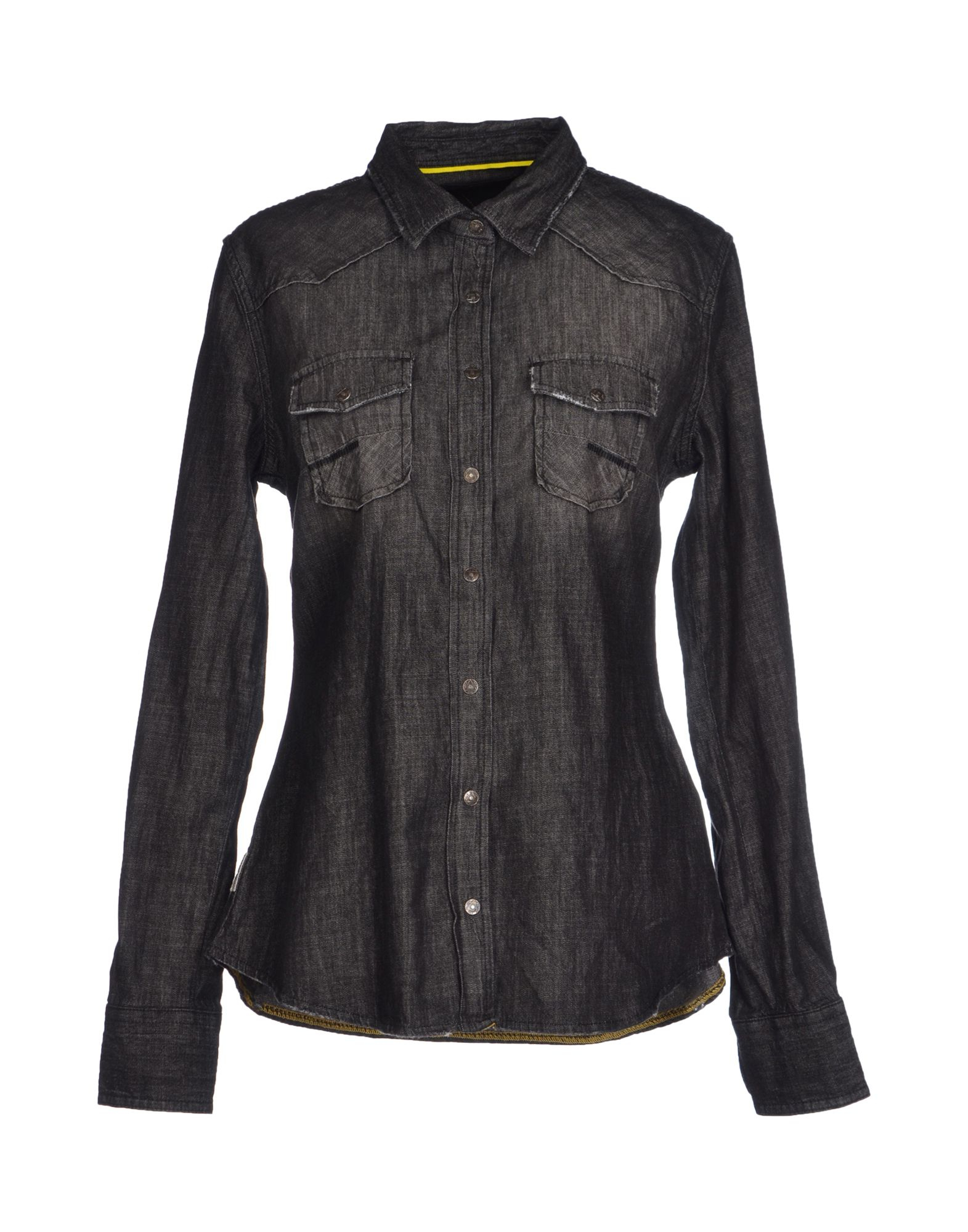 meltin 39 pot denim shirt in black lyst. Black Bedroom Furniture Sets. Home Design Ideas
